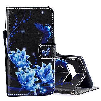 For Samsung Galaxy S10 tilfelle blå blomst mønster PU skinn folio deksel
