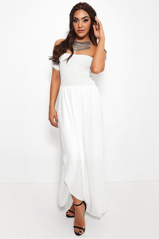 Sissi Front Split Bardot Dress