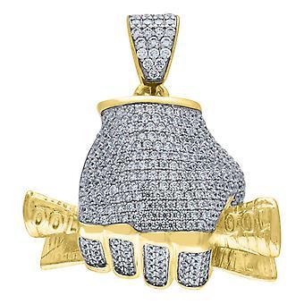 925 Sterling ezüst sárga CZ cubic cirkónia szimulált Diamond $ 100 Bill Money Hand 21.05gm Férfi Charm Medál Nyaklánc