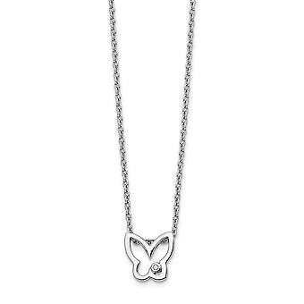 Polished Lobster Claw Closure White Ice Diamond Butterfly Angel Wings Necklace 18 Inch Jewelry Gifts for Women
