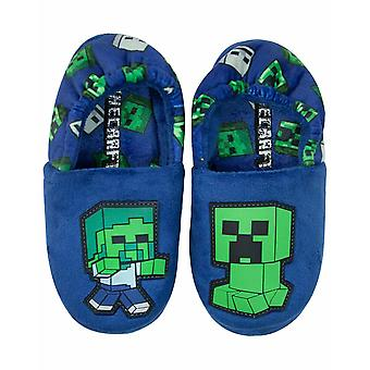Minecraft Creeper vs Zombie Boys Blue Slippers Kids House Shoe