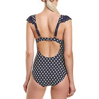 アンコール女性'sフラッタースリーブツイストワンピース水着、ブルー、サイズ8.0