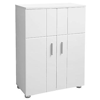 Compact white storage cabinet with 2 doors