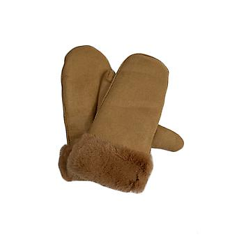 Womens Gloves Mittens Winter Warm Fitted Faux Suede Fur Thermal Soft Cosy New