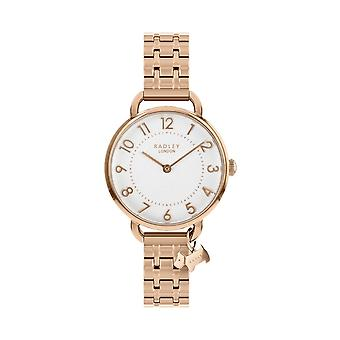 Radley Watches Ry4344 Women's Rose Gold Stainless Steel Charm Bracelet Watch