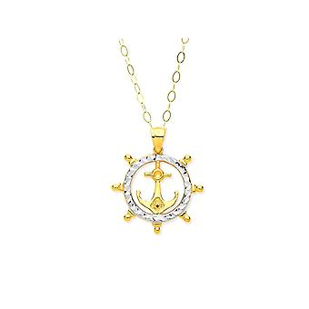 Eternity 9ct Gold 2 Colour Anchor In Ship Wheel Pendant And 16'' Chain