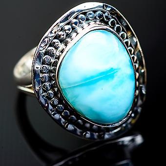 كبير لاريمار خاتم حجم 8 (925 الجنيه الاسترليني الفضة) -- اليدوية بوهو خمر مجوهرات RING998269