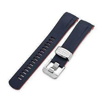 Strapcode rubber watch strap 22mm crafter blue - dual color blue & red rubber curved lug watch strap for tudor black bay m79230