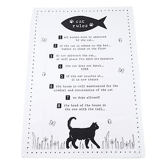 Woofs & Whiskers Cat Rules Tea Towel