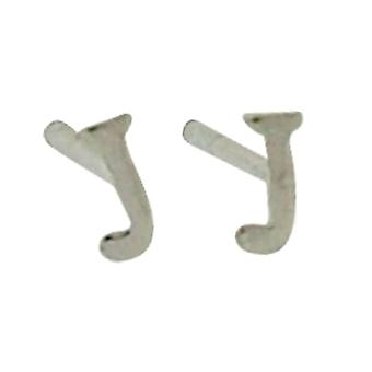 TOC Girls Sterling Silver Small Initial 'J' Stud Earrings