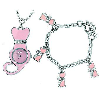 Reflex Charmed Pink Pussy Cat Watch On Ball Chain & Jewellery Set Girls/Women