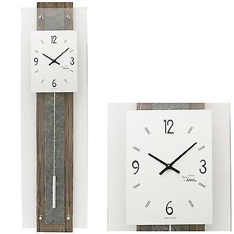 AMS 7460 Wall clock Quartz with pendulum walnut colors pendulum clock natural stone