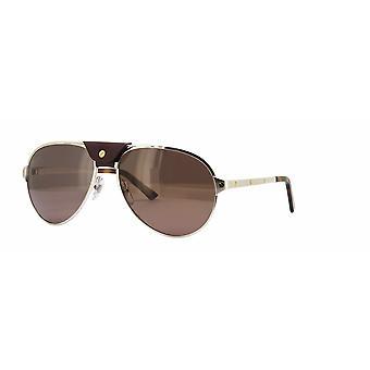 Cartier Santos de Cartier CT0034S 007 Silver/Polarised Red Sunglasses