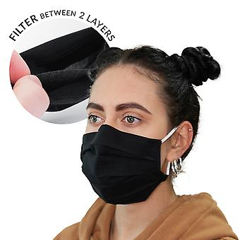 Double-layer streetwear mask with filter bag + 3 filters black