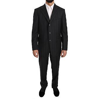 Ermenegildo Zegna Gray Stripe Two Piece 3 Button Wool Suit -- KOS1480496