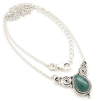 Malachite Necklace 925 Silver Sterling Silver Chain Necklace Green (MCO 09-10)