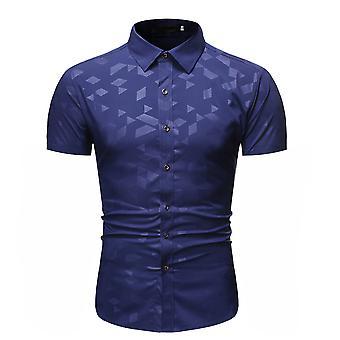 Allthemen Men's Ironless Square Printed Casual Lyhyt paita
