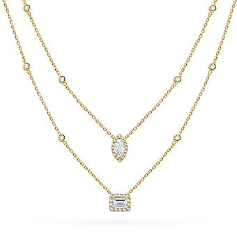 Necklace 2 Rows Emerald-cut & Marquise-cut Diamonds 18K Gold - Yellow Gold