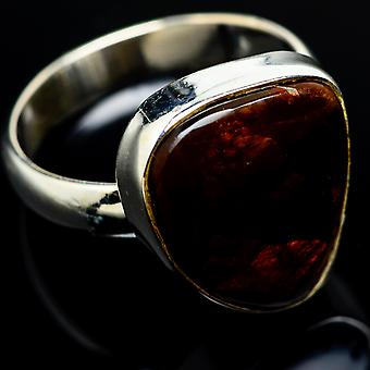 Mexican Fire Agate Ring Size 8 (925 Sterling Silver)  - Handmade Boho Vintage Jewelry RING7917