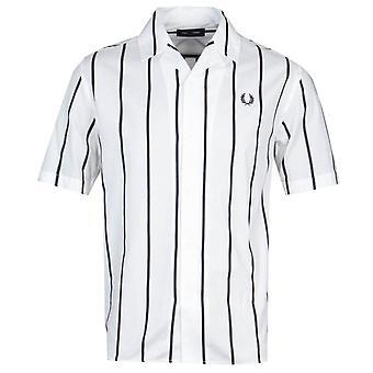 Fred Perry stripete revere krage snø hvit kortermet skjorte