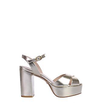 Stuart Weitzman Ivonametallicnappaplatino Women's Gold Leather Sandals
