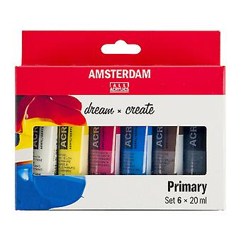 Amsterdam Acrylic Paint Primary Colours Set 6 x 20ml