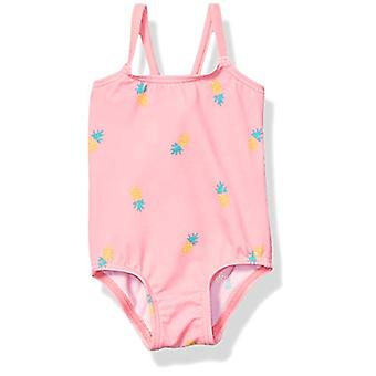 Essentials Baby Girls One-Piece Swimsuit, Pink Pineapple, 12M