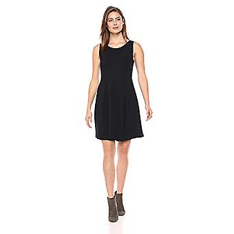 Marke - Lark & Ro Women's Sleeveless Rundhals Pleated Fit & Flare Kleid, Atlantic Navy, 14