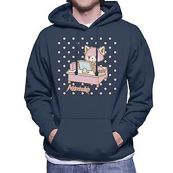 Aggretsuko Retsuko Bij Desk Pink Polka Dot Men's Hooded Sweatshirt