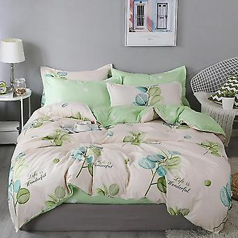 Nordic Leaf Printed Bed & Linen Plaid Duvet Cover Set - Single /double / Queen / King Quilt Bedding Covers