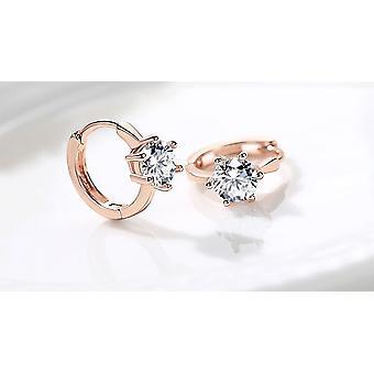 Rose Gold Crystal Drop Huggie Earrings
