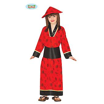 Guirca Chinese children costume red kimono red Asian girl dress red long Carnival