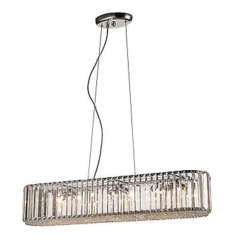 6 Light Small Ceiling Pendant Chrome, Clear with Crystals, G9