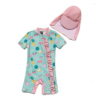 Bonverano Baby Girls One Piece Sun Protection Short Sleeves Zipper Swimwear