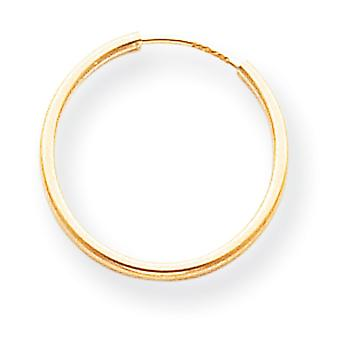 14k Yellow Gold Hollow Polished Endless Hoop Earrings - .4 Grams - Measures 17x17mm