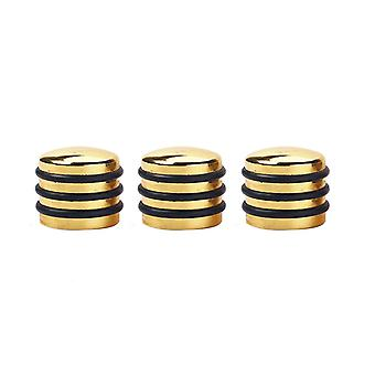 3PCS Metal Electric Guitar Bass Volume Tone Control Knobs Gold