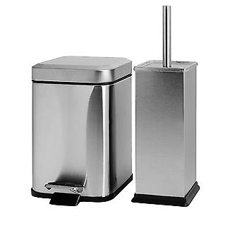 Square Steel Bathroom Pedal Bin (3 Litres) & Toilet Brush Set - Brushed Metal