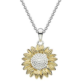 Dew Sterling Silver Sunflower With Gold Plate Pendant 9085GD024