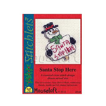 Santa Stop Here - Stitchlets Small Christmas Counted Cross Stitch Card Making Kit