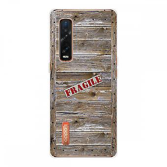 Hull For Oppo Find X2 Pro In Silicone Soft 1 Mm, Wooden Case