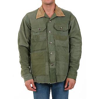 Greg Lauren Am006army Men's Green Cotton Outerwear Jacket