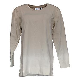 Denim & Co. Women's Top Scoop Neck Dip Dye Long-Sleeve Beige A346977