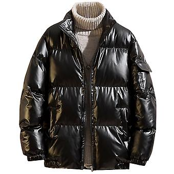 Allthmen Men's Trendy Reflective Jacket Cotton Reflective Zipper Plus Size Winter