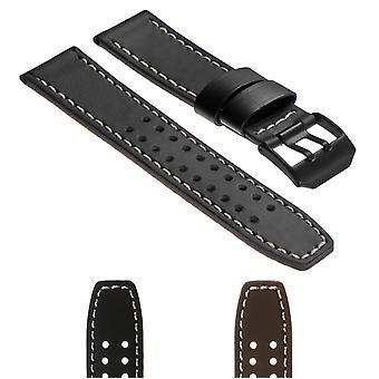 Strapsco dassari 23mm lederen horlogeband voor luminox evo met matzwarte gesp