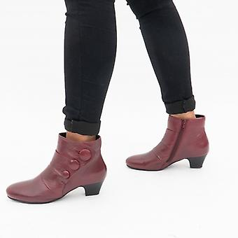 Lotus Prancer Ladies Leather Ankle Boots Red