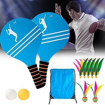 Table Tennis Racket Set With Pingpong Balls, Shuttlecocks Anf Storage Pouch