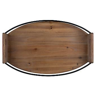 Stratton Home Decor Oval Wood and Metal Tray