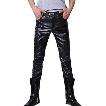 Men Skinny Faux Leather Leisure Shiny Singers Club Performance Pants