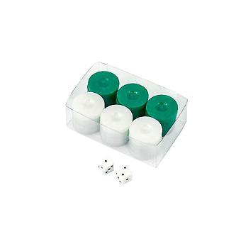 Waarde Backgammon stenen in groen / wit met dobbelstenen 26mm