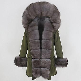 Nők Igazi Természetes Vízálló Róka Fur Gallér Vastag Meleg Streetwear